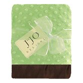 Green and Brown Baby Unisex Minky Dot and Satin Blanket