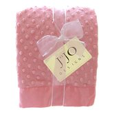 Pink Baby Girl Minky Dot and Satin Blanket