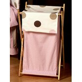Pink and Chocolate Mod Dots Laundry Hamper