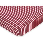 Vintage Aviator Collection Fitted Crib Sheet  - Red Stripe Print