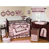 Pink and Brown French Toile and Polka Dot Crib Bedding Collection