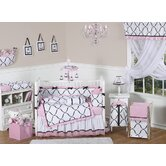 Princess Black, White and Pink Collection 9pc Crib Bedding Set