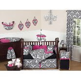 Isabella Hot Pink, Black and White Collection 9pc Crib Bedding Set