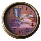 Grape and Wine Kitchen Wall Clock in Distressed Antique Bronze