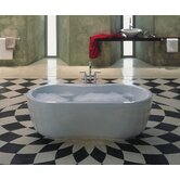 "Mega Duo 17.72"" x 70.87"" Oval Bath Tub with Molded Panel in White"