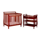 Athena Mini Amy Two Piece Convertible Crib Set in Cherry