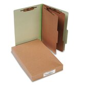 Pressboard 25-Point Classification Folders, Lgl, 6-Section, Leaf GN, 10/box