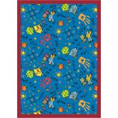 Educational Scribbles Blue Kids Rug