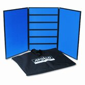 3-Panel Slotwall Table Display System, Fabric, Blue, Black PVC Frame