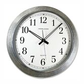 Wall Clock, Galvanized Metal, 16&quot;, Silver