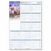 Floral Reversible/Erasable Yearly Wall Calendar, 24 x 36, 2013