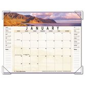 Panoramic Landscape Monthly Desk Pad Calendar, 22 x 17, 2013