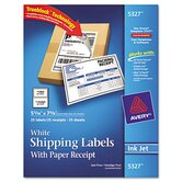Shipping Labels with Paper Receipt, 5 1/2 x 8 1/2, White, 25/Pack
