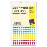 See Through Removable Color Dots, 1/4in dia, Assorted Colors, 864/Pack