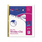 Write-On Index Dividers, Erasable Laminated Multicolor Tabs, White, Set of Eight