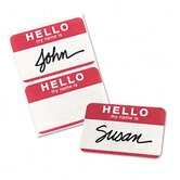 "Self-Adhesive Name Badges, ""Hello"", 2 1/4 x 3, Red, 100 Per Pack"