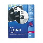 CD/DVD Labels for Laser Printers, White Matte, 100/pack