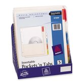 Pocket Dividers, 5-Tab, Punched, 8-1/2&quot;x11&quot;, 36 Sets, Buff