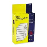 "Dot Matrix Printer Labels, 1 Across, 3-1/2""x15/16"", 1000 per Box, White"