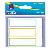 Removable Label Pads, 1 x 3, Outlines - Blue/Orange/Green, 120/Pack