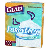 Glad Drawstring ForceFlex Tall Kitchen Bags, 13 gal, .95mil, 24 x 28, White, 100/ctn