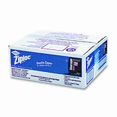 Ziploc Double Zipper Bags, Plastic, 1 gal, 1.75 mil, Clear w/Write-On Panel, 250/carton