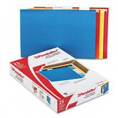 "2"" Capacity Reinforced Hanging File Folders, Kraft, Legal, Assorted, 25 per Box"