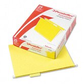 Hanging File Folders, 1/5 Tab, Letter, Yellow, 25 per Box