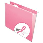 Hanging File Folders, 1/5 Tab, Letter, Pink, 25 per Box