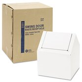 Double Entry Swing Top Receptacle, 9w x 9d x 10-3/4h, White
