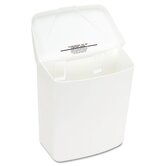 Health Gards Convertible Receptacle, Hinged Lid, 1 gal, Plastic, White