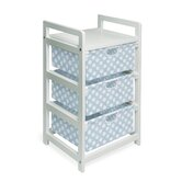 BWhite Three Drawer Hamper and Storage Unit