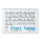Chart Tablets w/Cursive Cover, Ruled, White