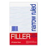 "Filler Paper, Narrow Rule, 8-1/2""x5-1/2"", 100 Shper Pack, White"