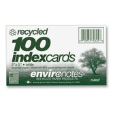 Index Cards, Ruled, 3&quot;x5&quot;, 100 per Pack, White