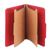 Pressboard Classification Folders, Letter, 6-Section, Bright Red, 10/bx