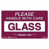 """Glass Handle with Care"" Self-Adhesive Shipping Labels, 3 x 5, 500 per Roll"