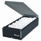 High-Capacity Business Card File, Metal/Plastic, Black/Smoke, 4 1/4x8 1/4x2 1/2