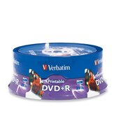 DVD+R, 4.7GB, 16X, Inkjet/Hub Printable, 25 per Pack, White