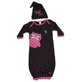 Night Owl Gown and Cap Set in Black