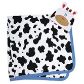 Mooo! Swaddle Blanket and Cap Set in White