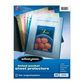 Sheet Protectors, Tinted, Top Load, 12 per Pack, Blue/Green/Yellow/Red