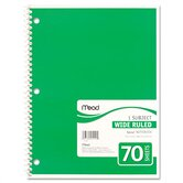 Spiral Bound Notebook, Wide/Margin Rule, 8 x 10-1/2, White, 70