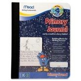 "Primary Journal,Narrow Ruled, 9-3/4""x7-1/2"", White Paper/Black Cover."