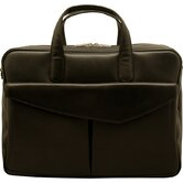 Sienna Leather Double Zip Briefcase with Front Flap Pocket