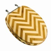 Bamboo Elongated Toilet Seat in Zebra with Brushed Nickel Hinges