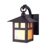 Montclair Mission  Outdoor Wall Lantern with Iridescent Tiffany Glass in Bronze