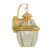 Monterey  Outdoor Wall Lantern in Polished Brass and Beveled Glass