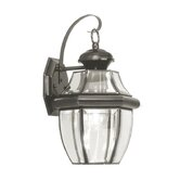 Monterey  Outdoor Wall Lantern in Black and Beveled Glass