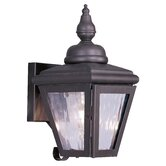 Cambridge Outdoor Wall Lantern with Clear Water Glass in Bronze
